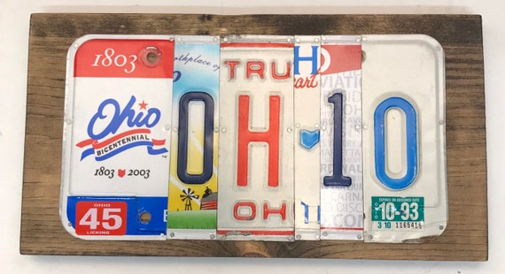 Ohio License Plate Sign - License Plate Wall Art - Rustic Sign -