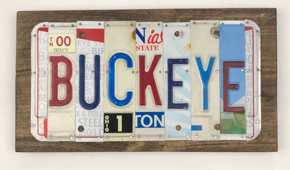 Buckeye License Plate Sign - License Plate (Rustic Apple Art seen in Country Living Mag)