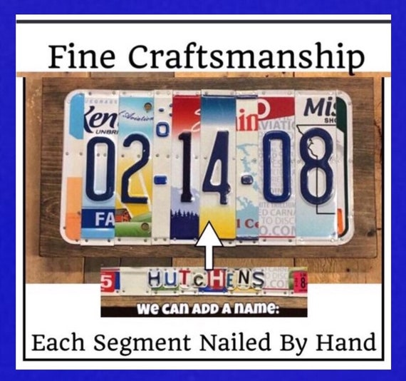 Anniversary Gift  License Plate Plaque / 10 Year Anniversary Gift / Made to Order Gift / Wedding Date / Add Last Name Option / Wedding Gift