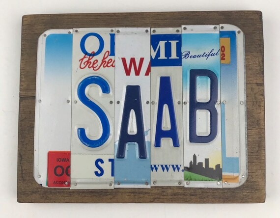 Saab License Plate Sign, Saab gift, Saab, Unique Gift, (Rustic Apple Art seen in Country Living Mag)