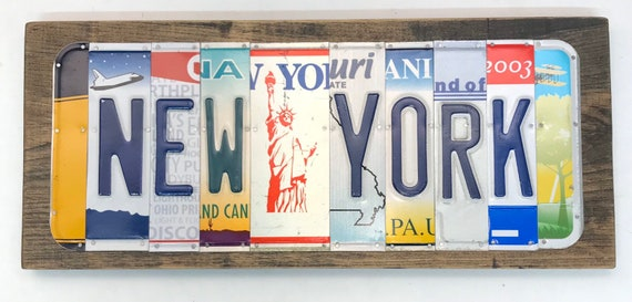 New York License Plate Sign - License Plate Wall Art - Rustic Sign -