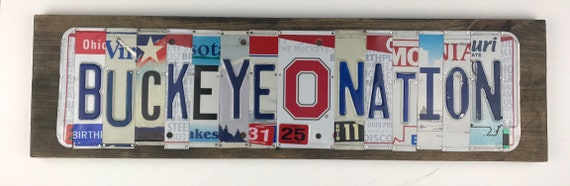Buckeye Nation License Plate Sign - License Plate (Rustic Apple Art seen in Country Living Mag)