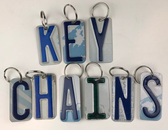 Letter Key Chain, License Plate Keychain Letter, Small Gift, Stocking Stuffer, License plate number keychain, bagtag