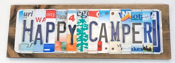 Happy Camper License Plate Sign - License Plate Wall Art - Rustic Sign -