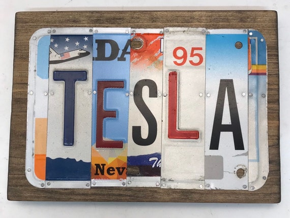 Tesla License Plate Sign - License Plate Wall Art - Rustic Sign -