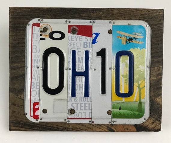 Ohio License Plate Sign with Guitar - License Plate Wall Art -FREE shipping in US ! (Rustic Apple Art seen in Country Living Mag)