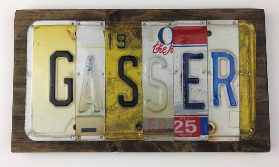 Gasser sign License Plate Sign, bar signs, gifts for men, gifts for women, man cave, license plate art, gasser sign, hotrod gift