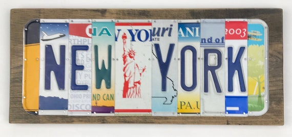 New York sign License Plate Sign, bar signs, gifts for men, gifts for women, man cave, license plate art fishing unique gift