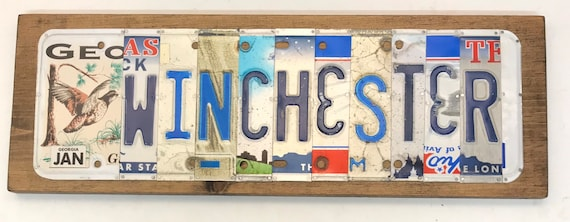 Winchester License Plate Sign - License Plate Wall Art - Rustic Sign -