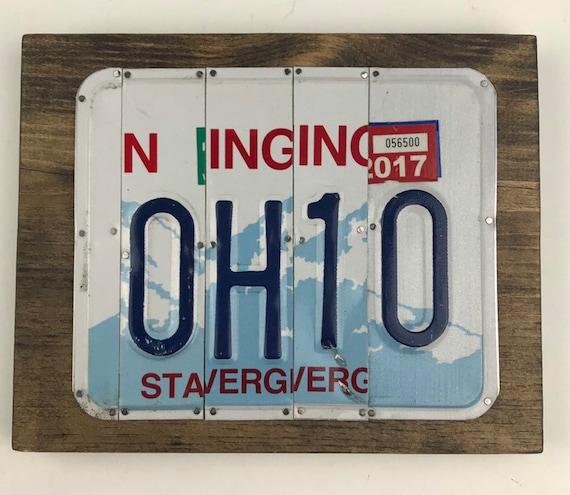 Ohio License Plate Sign, ohio gift, buckeye gift, buckeyes, Ohio University gift, Unique Gift, (Rustic Apple Art seen in Country Living Mag)