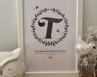 A4 personalised letter/initial print for baby boy gift