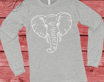 Alabama Football Gameday Elephant Shirt Hand Drawn Sketch on Bella + Canvas Super Soft Long Sleeve Gray Graphic T Shirt Adults or Kids