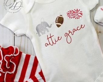 Watercolor Alabama Football White Onesie Girl or Boy Custom Personalized Monogram or Plain Gameday Outfit Tuscaloosa Fashion