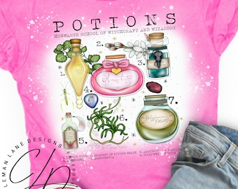 Potions Ingredients | Bleached Tee in Heather Sangria [hot pink] Super Soft Graphic T Shirt | HP