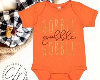 Gobble Gobble Gobble Short Sleeve Infant Youth Onesie for Thanksgiving Turkey Day Rabbit Skins 100% Cotton Kids