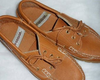 6acc5695ec35 VINTAGE Gently Worn Mens' MacGregor Leather Loafers or Deck Shoes/Mens' Tan  Boat Shoes/Mens' Moccasins/Mens' Lace Up Loafers/Rubber Non Slip
