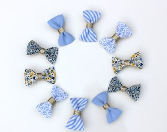 """Duo of """"knot"""" bars in blue cotton (uni, print, Liberty) and gold sequins (crocodile pinch)"""