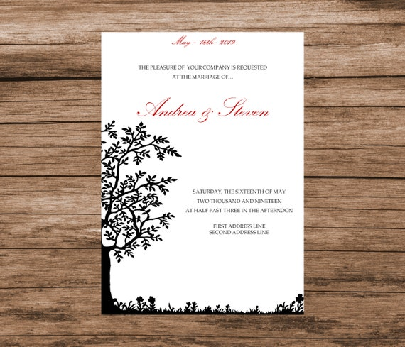 DIY Tree Of Life Wedding Invitation Template INSTANT DOWNLOAD Editable Text Colors Red Blue Pink Green Etc 5x7