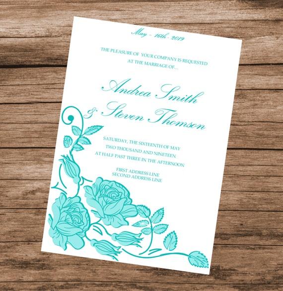 Plantilla De Invitación De Boda Para Imprimir Tarjeta De Invitación Diy Rosas Aguamarina Descargar Al Instante Texto Editable Y Colores 5 X 7
