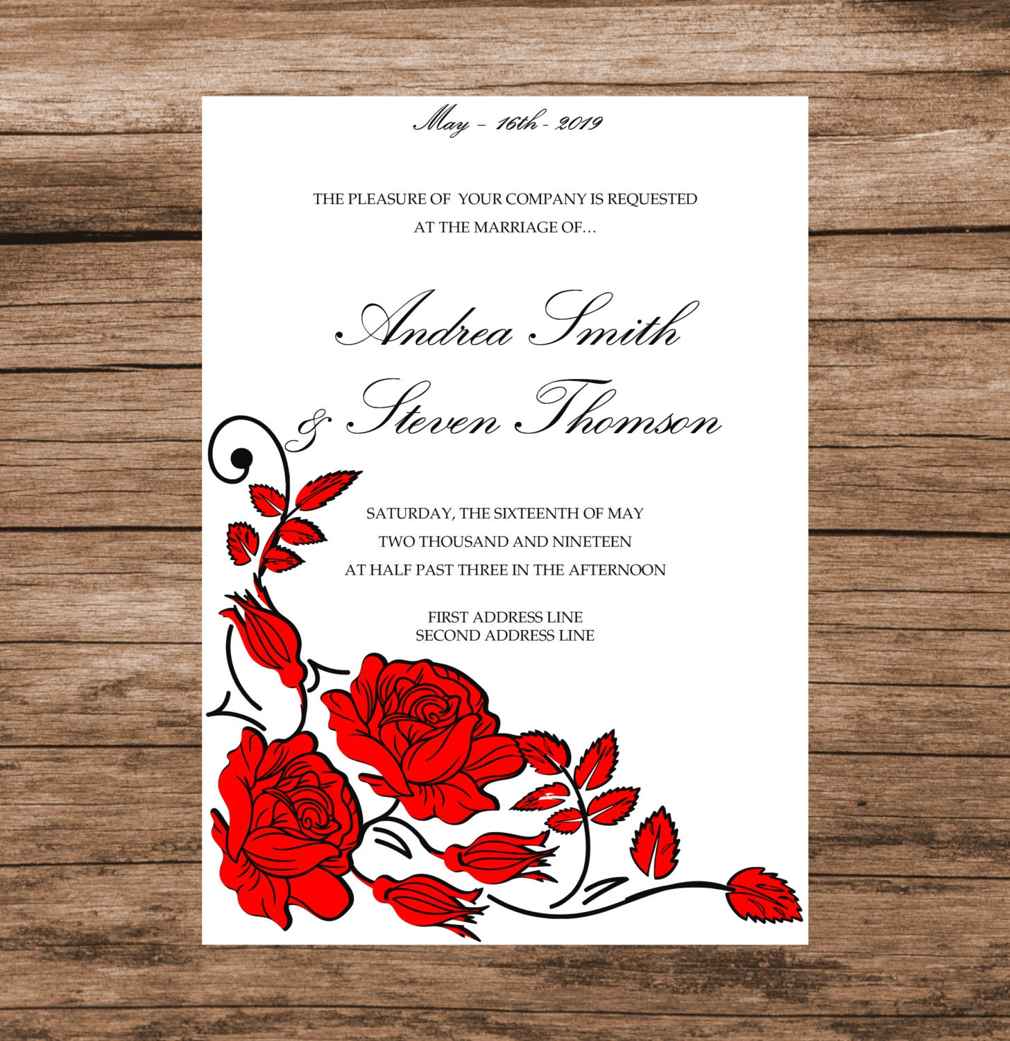 DIY Wedding Invitation Template Red Roses Invitation Card | Etsy