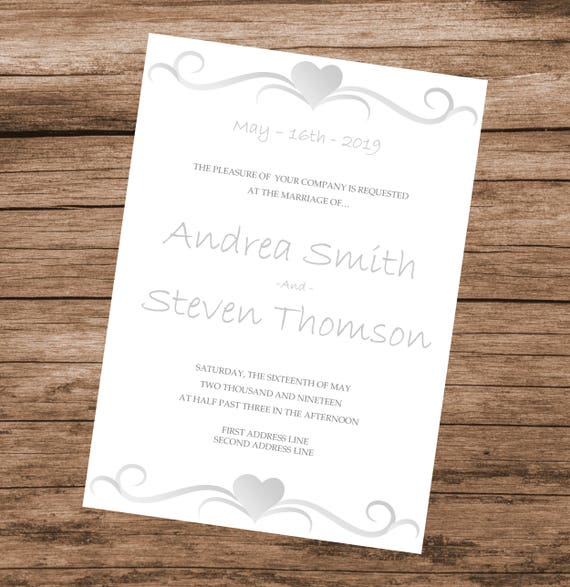Diy Wedding Invitation Template Silver Hearts Design Editable Text Colors Instant Download 5x7 Inches