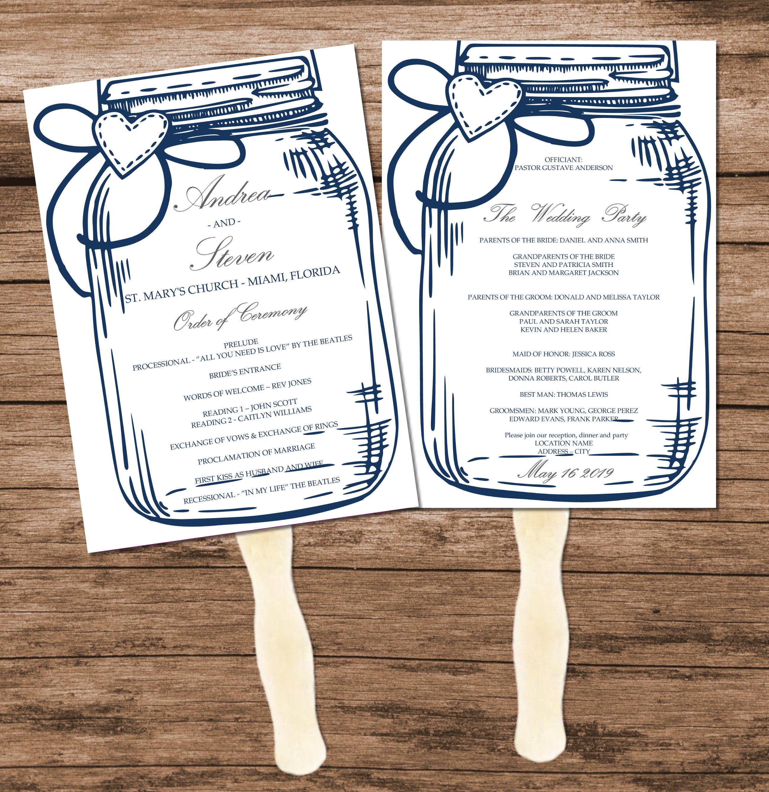 Printable Blue Mason Jar Wedding Program Fan Template DIY