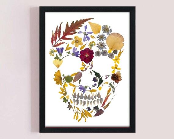 Pressed Flowers Skull Printable Art Wall Decor