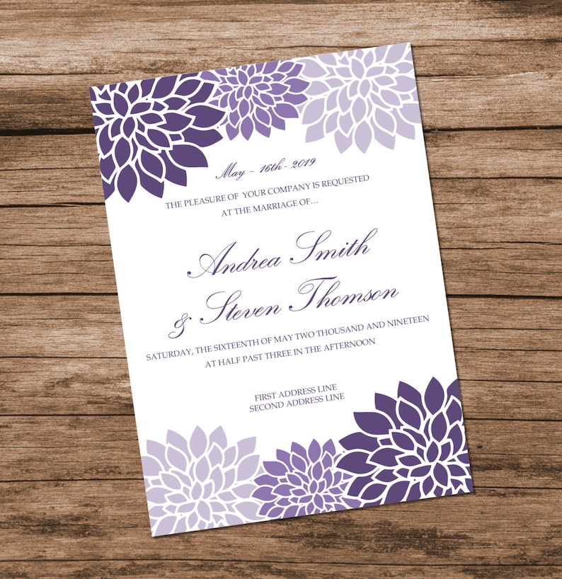 Printable Wedding Invitation Template Lavender Chrysanthemum Design Purple Flowers INSTANT DOWNLOAD Editable Text Colors 5x7 Inches