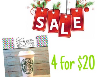Personalized Starbucks Cup / Reusuable Starbucks Cup / Personalized Travel Coffee Mug / Travel Mug SALE (set of 4)