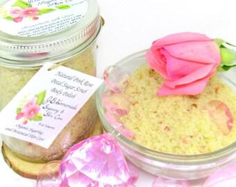 Natural Pink Rose Petal Sugar Scrub Body Polish - 8 Oz - Fresh Pink Rose Petal Sugar Scrub - All Natural Scrub - Moisturizing - Conditioning