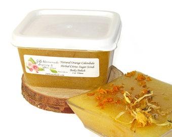 Natural Orange Calendula Herbal Citrus Sugar Scrub Body Polish - 2 Oz - Orange Calendula All Natural Sugar Scrub - Restorative - Healing
