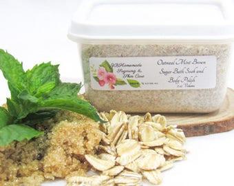Oatmeal Mint Brown Sugar Scrub, Oatmeal Scrub, Colloidal Oatmeal Herbal Remedy, Brown Sugar Scrub, Body Scrub, Facial Mask, Soothing, 2 Oz