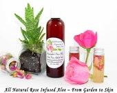 Pink Rose Aloe, Rose Aloe, Real Rose Aloe Vera Gel, Pure Aloe Vera, Chemical Free, Aloe Vera Leaf Gel with Fresh Pink Rose Petals, 4 Oz