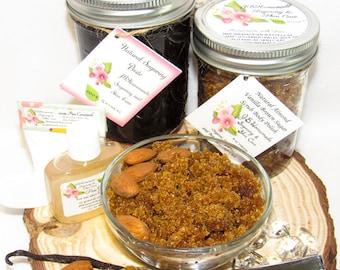 Sugaring Hair Removal Set, Oatmeal Scrub, Almond Brown Sugar Scrub - thicker hair, Body Sugaring, natural sugaring, natural sugar scrub