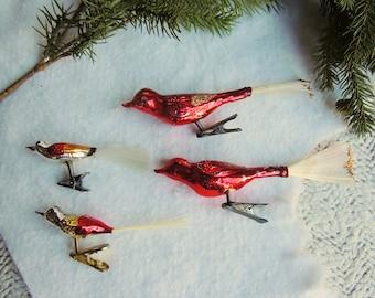 Lot of 4 Vintage Mercury Glass Birds Ornaments - Wreath Ornaments - Mercury Christmas Tree Bird Ornaments
