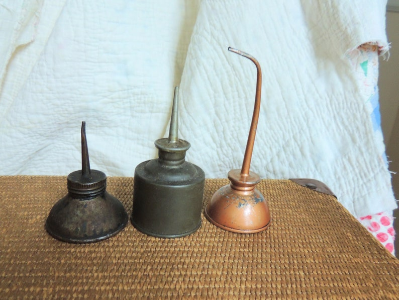 Vintage Oil Cans- Instant Collection of Small Oil Cans- Thumb Oilers-  Industrial Rustic Primitive Decor- Thumb Oil Cans