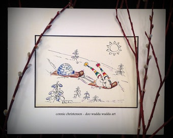 Humour, snow painting, winter painting, Small 5x7 ORIGINAL whimsical painting of winter 'Tobogganeers', snowmen, igloo,  Watercolor and Ink