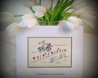 Small ORIGINAL whimsical painting cyclist on bike, 5x7 painting, gift, flowers, basket,watercolor &India ink, free spirit, carefree, retro