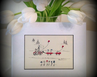 Small ORIGINAL whimsical painting cyclist on bike, old fashioned bike, balloons, watercolor & ink, kids gift, dog, retro,free spirit