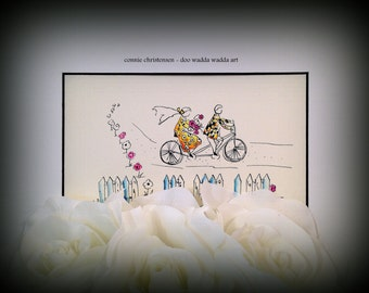 Wedding gift Anniversary gift Small ORIGINAL whimsical painting cyclists on bikes Watercolor & Ink Tandem bike Bike built for two Bikers