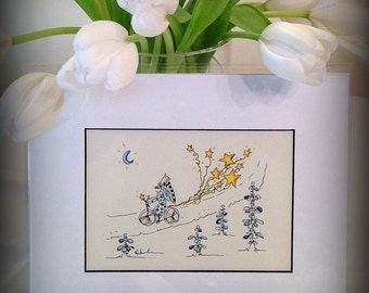 Small ORIGINAL whimsical painting cyclist on bike, 5x7 painting, gift, fairy, stars, balloons, watercolor &India ink, free spirit, kids gift