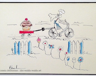 Gift for cyclists, bike accessory, bike,  baker, baking accessory, retro gift, cupcake, little red wagon, 5x7 painting, watercolor & ink