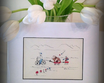 Gift for men, Small 5x7 ORIGINAL whimsical painting, cyclist, bikes, Watercolor and ink, bear, red wagon, wildlife painting, outdoor life