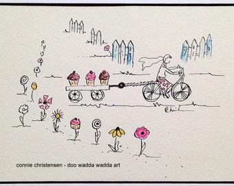 Small ORIGINAL whimsical painting cyclist on bike, 5x7 painting, flowers, wagon, cupcakes, watercolor, bike art, baking, retro, baker