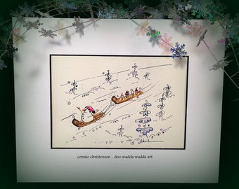 ORIGINAL whimsical painting, winter scene, snowman, ice cream cones, sled, watercolor/ink, 5x7, small  painting, toboggan, affordable art
