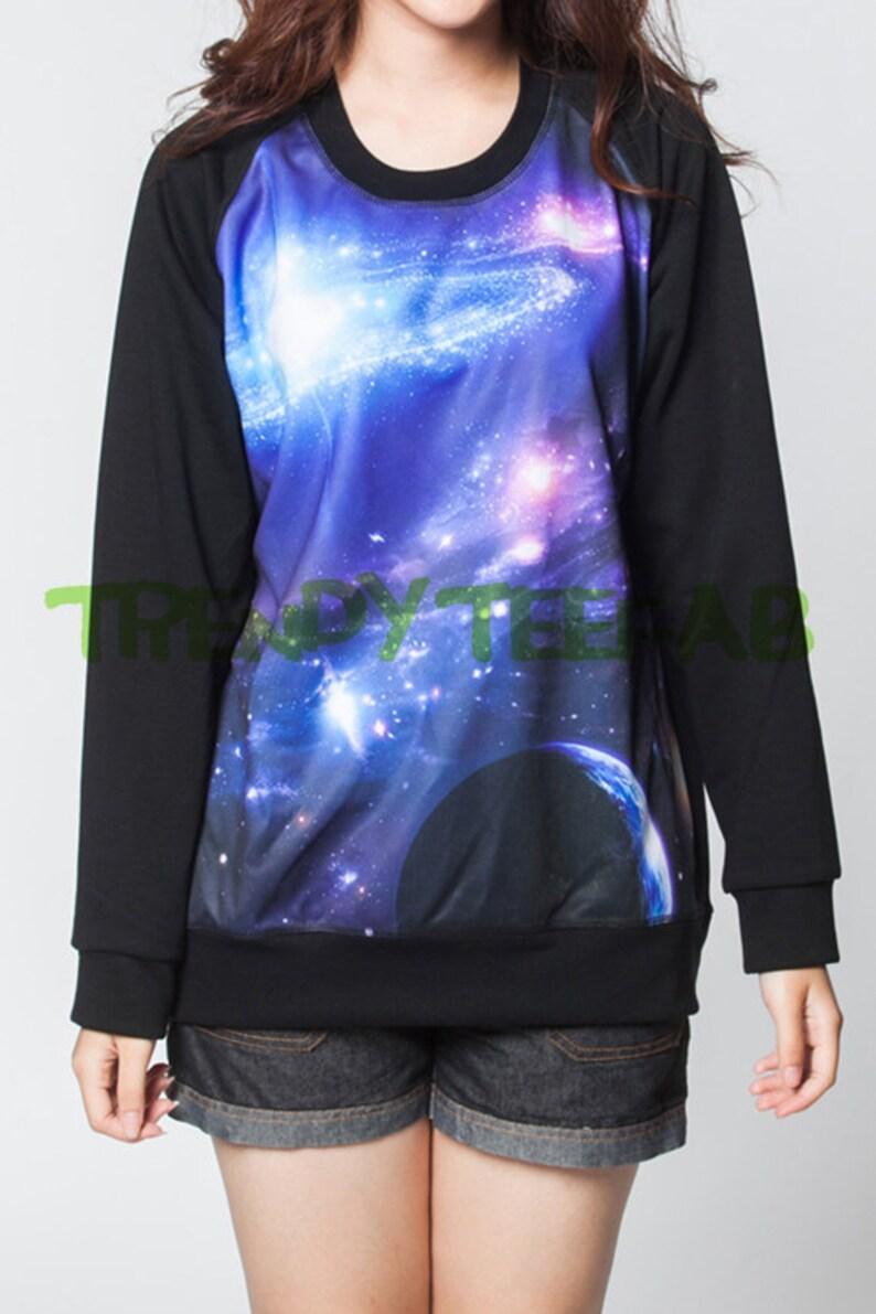2db351a54e2 Galaxia sudadera oscuro universo violeta mujeres suéteres puentes negro  Unisex camiseta t-shirt manga larga talla S, M, L