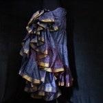 S-M, ICED PLUM, Glow Skirt (43), 25 Yard, Circle, Silk Sari, Tribal, Burning Man, Belly Dance, Bohemian, Ats, Festival, Upcycled, Sk