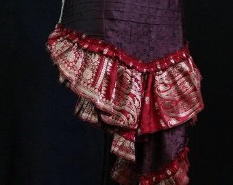 Fairy Steam Punk Burlesque Cosplay Circus Ats Barocco SERENITY S-XL Burning Man Tribal Belly Dance Short Bustle Hip Scarf