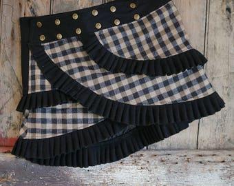 0f184e7375 S/HOUNDS TOOTH/ Skirt/ Highland/ Ladies/ Scottish/ Kilt /Tweed/ Wrap/ Ruffle/  Mini Skirt/ Scotland/ Fashion/Barocco Tribal/cosy skirt/