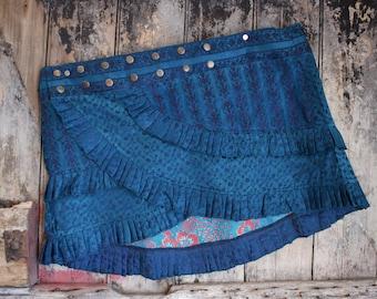 NEW! L-Xl, OXYGEN,  Ruffle Skirt, Silk Sari, Tribal, Barocco tribal, Belly Dance, Burning man, Ruffle, Festival, Short skirt, mini,